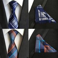 Мужской галстук набор Мужские галстуки и карманные угольники подарок шелковые галстуки Галстук с ярким узором с платком gravatas de seda para homens