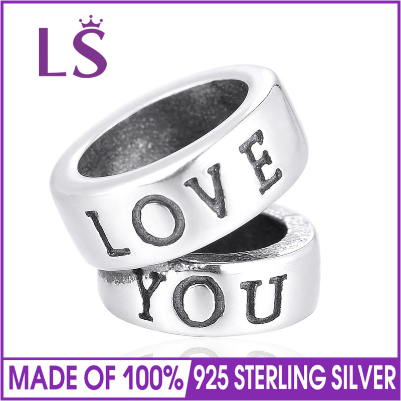 LS High Quality Love You Charm Bead for Jewelry making Fit Bracelets & Bangles Mother's day Loose Bead DIY Jewelry