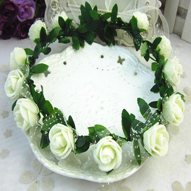 Rosa claveles peonía flor Halo nupcial Floral corona diadema guirnalda  menta cabeza corona boda tocado dama c5ee39318372