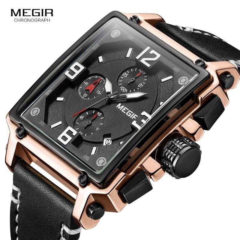Megir Men's Square Dial Sports Quartz Watches Leather Strap Chronograph 3 ATM Waterproof Wristwatch Men Relogios Clock 2061 Rose