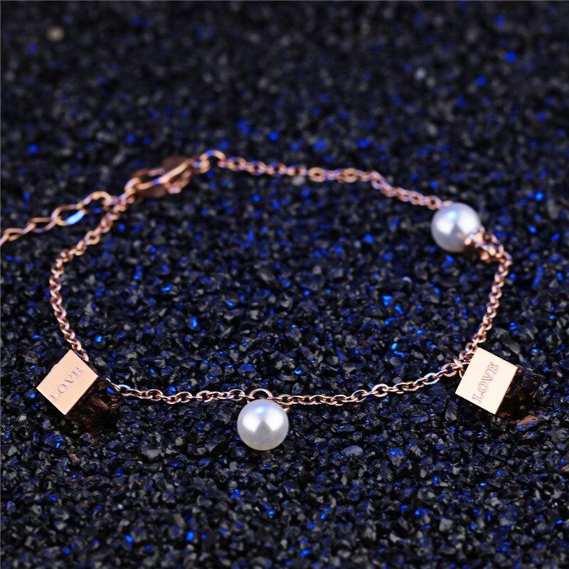 Красивые, модные, личность, квадрат, жемчуг, 316 titanium стали вакуумные покрытие цвета розового золота, не исчезает, леди bracelet.852