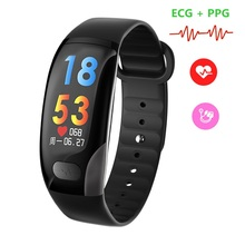 лучшая цена ONEVAN B51 Smart Band ECG PPG Heart Rate Monitor Blood Pressure Men Sport Smart Watch Women Fitness Bracelet for IOS Android