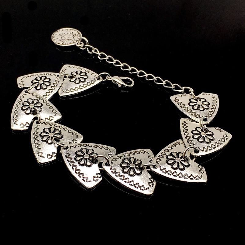 10 Pcs/Lot Bohemian Antalya Carved Flower Triangle Coin Bracelet Gypsy Boho Festival Turkish Sinaya Tribal Ethnic Jewelry