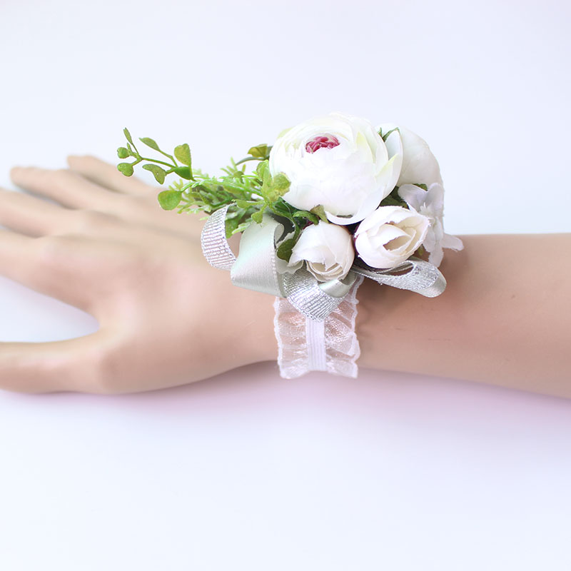 Wrist Corsage Bracelet wrist flowers artificial flowers rose  (16)