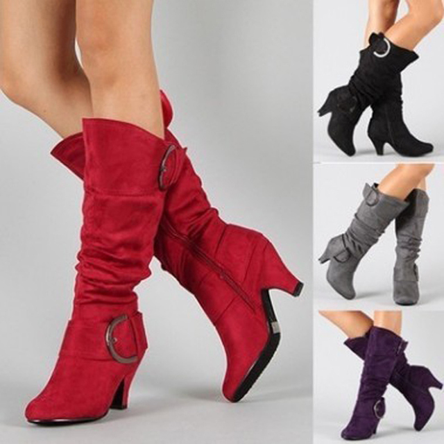 Nouvelles femmes à talons hauts automne mi mollet bottes femme fermeture éclair boucle plate forme Sexy Spike talons grande taille dames chaussures de mode