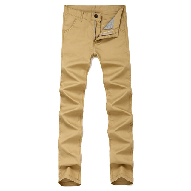 966fd52aa32 Slim Fit Casual Khaki Pants Men Flat Front Straight-Fit Army Green Long Pant  for