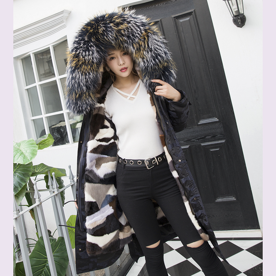 Women Real Natural Mink Fur Coats The Park With Camouflage With Raccoon Dog Fur Collar Women's Winter Coats Thick Hoodie Casual