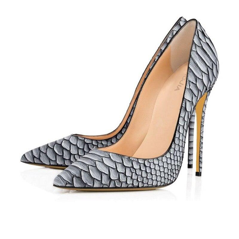 4c48f8ed1a4b Femmes Sexy Parti Chaussures Gris Python Bout Pointu Talon Haut Pompes  Blanc Serpent Motif De Mariage Talons Glissent Sur Stiletto Cour chaussures  dans ...
