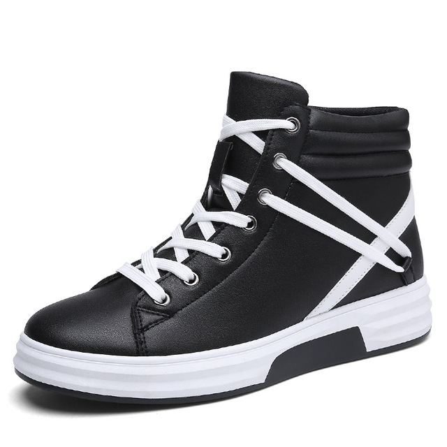 ad5b67371c2 New Men Casual Shoes Top Quality Pu Leather Men High Top Shoes Fashion Lace  Up Breathable Hip Hop Shoes Men Black White 67.9 ₪. Black