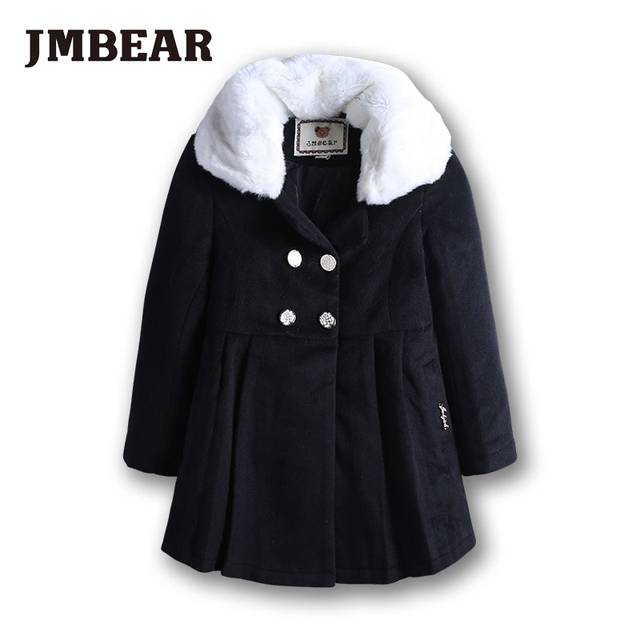 7ba5ea13a JMBEAR girls woolen overcoat Children's clothing winter jacket child Faux  Fur Fleece outerwear wool thickening coat 6 12 Y-in Wool & Blends from ...