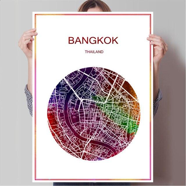 Carte Thailande Imprimer.Bangkok Thailande Celebre Monde Ville Carte Imprimer Affiche