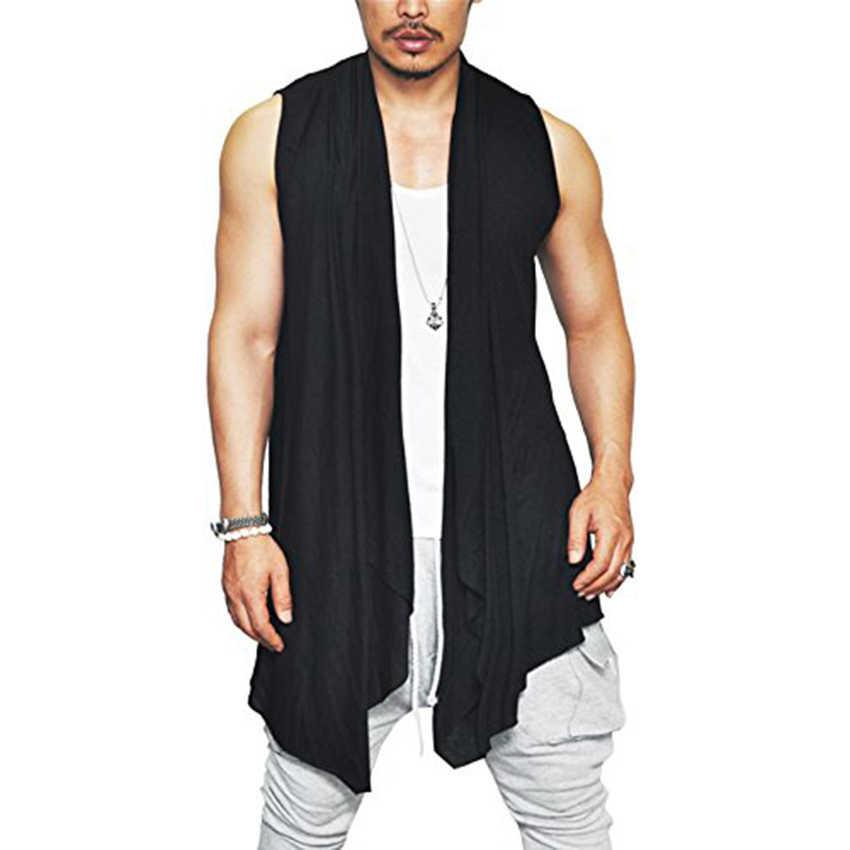 b0a4cf39142c9 Men s Casual Shawl Collar Cloak Sleeveless T Shirt Men Hip Hop Hipster cowl neck  Tops Tee