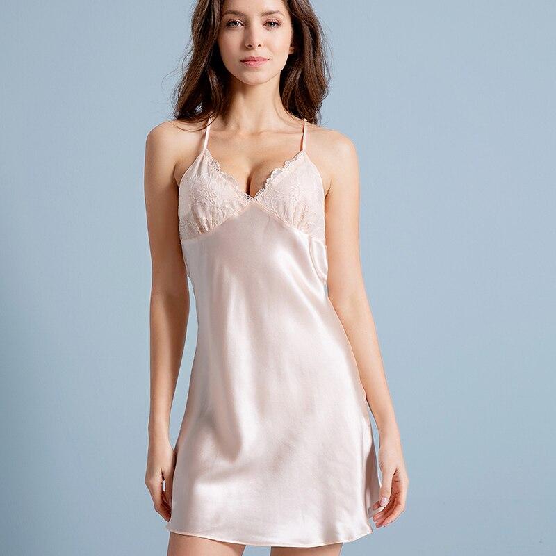 100 Real Silk Sleepshirts Women Nightgown 2019 Silk Robe Sleepwear Bedgown Nightdress Ladies Pure Silk Leisure