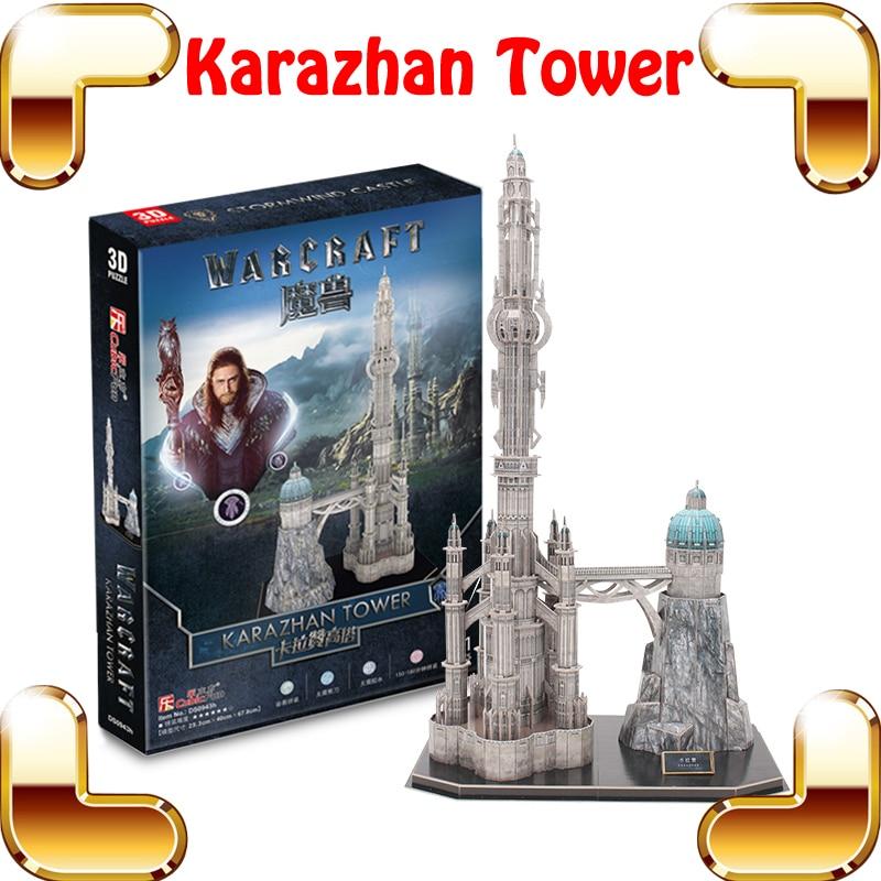 Új érkezési ajándék Karazhan torony 3D-s rejtvények Modellépítés Játékszerkezet Oktatási Puzzle Játékok Épített szórakoztató Kézzel készített gyűjtemény