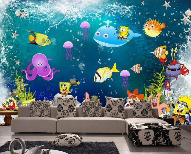 Superbe Photo Wallpaper SpongeBob Undersea World Wallpapers Mural Cartoon  Childrenu0027s Room Bedroom Wallpaper Mural