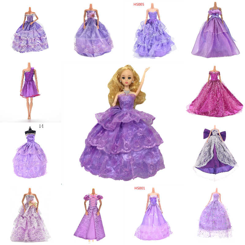 Purple Elegant Handmade Wedding Princess Dress For Doll Floral Doll Dress Clothes Clothing Multi Layers Dolls Accessories