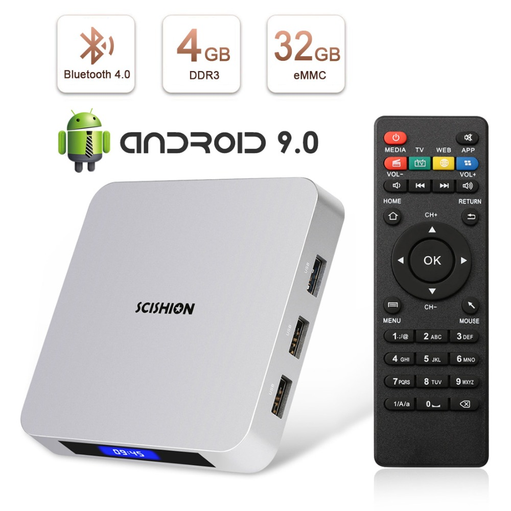 Leelbox AI ONE Android 9.0 4GB RAM 32GB ROM Smart TV Box RK3328 Quad Core intégré Bluetooth 4.0WIFI décodeur lecteur multimédia