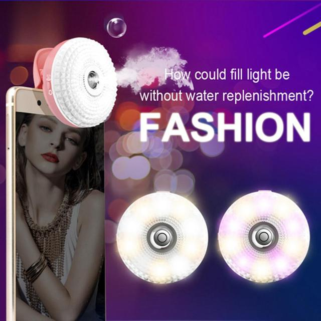 Fashion Beauty Fill Light Humidifier Generic Night Shoot Camera Water Humidification For Camera Selfie LED  Light For iPhone