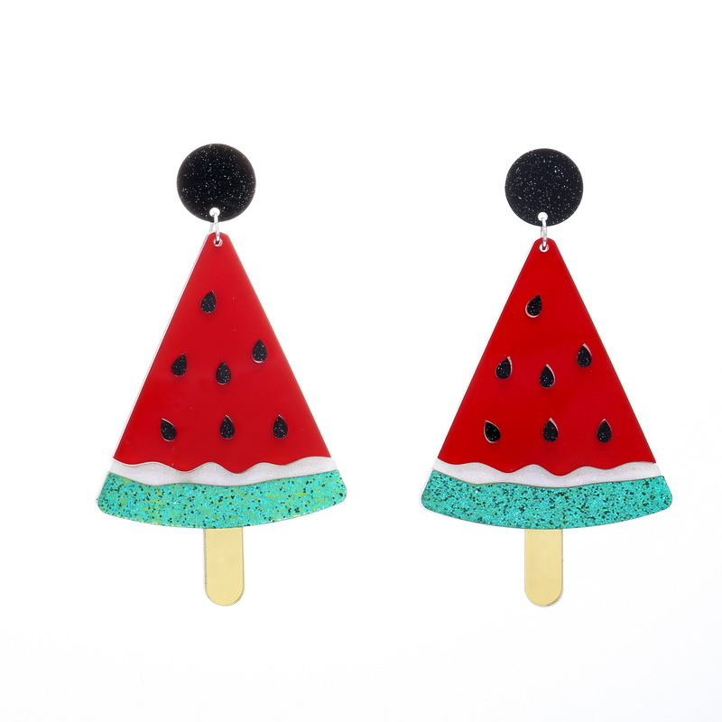 Acrylic Red Watermelon Pendant Hip Hop Earrings Long Personality Women Night Club Jewelry