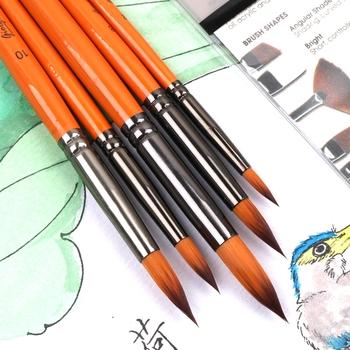 Nylonowe włosy początkujący ręcznie-malowane dorosłych profesjonalny akwarela pióro student rysunek wskazał okrągłą głowę 5 zestawów gwasz akrylowy tanie i dobre opinie Zhouxinxing CN (pochodzenie) Do malowania WOOD Pędzel do akwareli 3 lata 22 (CM)