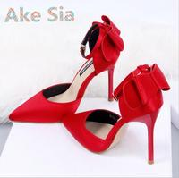 Ake Sia 2017 new women spring stiletto buckle Korean version of wild sexy shoes red bow heels shoes#666