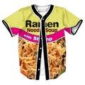 Ramen camarón Jersey overshirt 3d remata camisetas camisetas Streetwear Hip Hop con Un Solo Pecho camisa de LOS HOMBRES camisetas