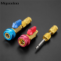 Car Air Conditioning R134a Valve Core Quick Remover Installer High Low Pressure Refrigerant Adapter Kit Valve Core Remover Tool