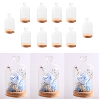 8pcs Clear Glass Display Cloche Bell Jar Dome Flower Immortal Preservation Vase Wooden Base Home Decor Ornament