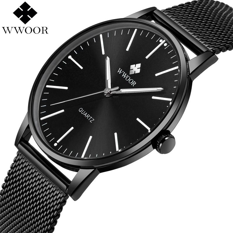 WWOOR Brand Luxury Mens Waterproof Ultra Thin Quartz Watch Men Stainless Steel Mesh Band Slim Clock Male Sport Wrist Watch Black wwoor men watches waterproof ultra thin quartz clock male gold mesh stainless steel watch men top brand luxury sport wrist watch
