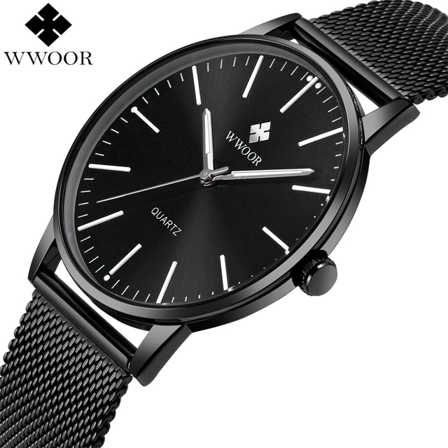 WWOOR Brand Luxury Mens Waterproof Ultra Thin Quartz Watch Men Stainless Steel Mesh Band Slim Clock Male Sport Wrist Watch Black