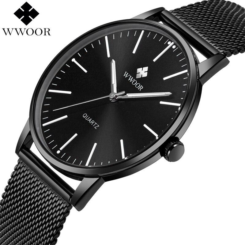 WWOOR Marque De Luxe Mens Étanche Ultra Mince Montre À Quartz Hommes En Acier Inoxydable Maille Bande Mince Horloge Mâle Sport Montre-Bracelet noir