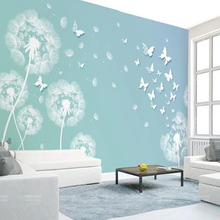 3D Stereoscopic Dandelion Photo Wallpapers Pink Blue Flowers Wall Papers Home Decor For Kids Living Room Children Bedroom Murals cartoon animals children wallpapers 3d murals custom photo wallpapers for living room bedroom wall papers home decor kids room