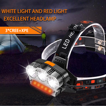 VastFire 7 Modes Rechargeable Battery Headlamp Working Outdoors Camping Hiking Red & White T6 COB flashlight