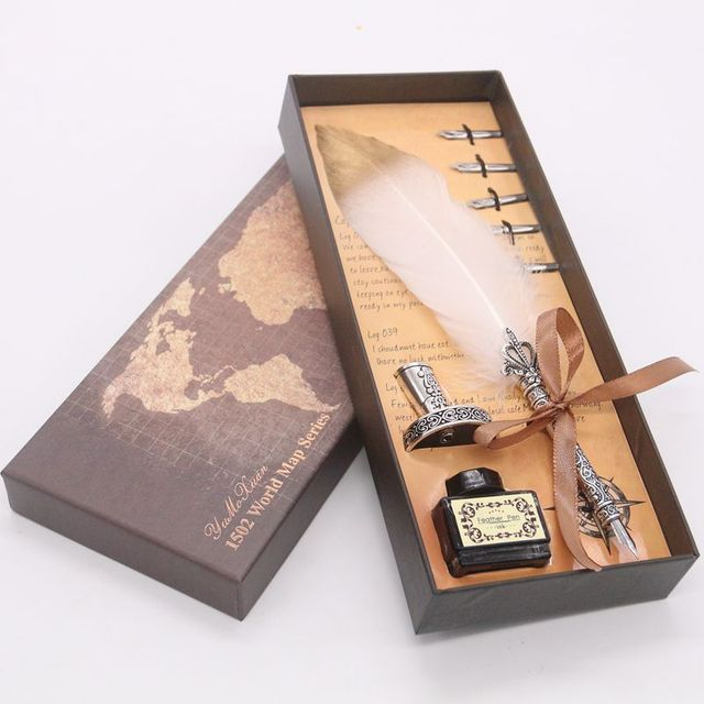 Luxury Calligraphy Feather Dip Pen Writing Ink Set Stationery Gift Box with 5 Nib Wedding Quill Pen Metal Fountain Pen Set 3