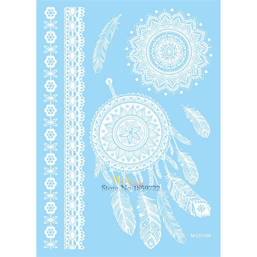 Henna Lace Bracelet Temporary Tattoo Sticker: Classic White Ink Henna Tattoo Dreamcatcher Feather Lace