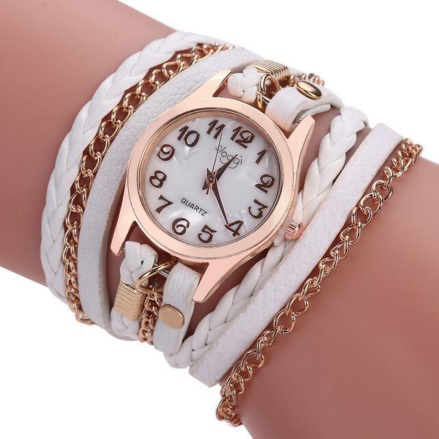 Luxury Brand Leather Quartz Watch Women Ladies Casual Fashion Bracelet Wrist Watch Clock relogio feminino leopard braided female fashion handmade braided friendship bracelet watch rope watch casual women quartz watches relogio feminino