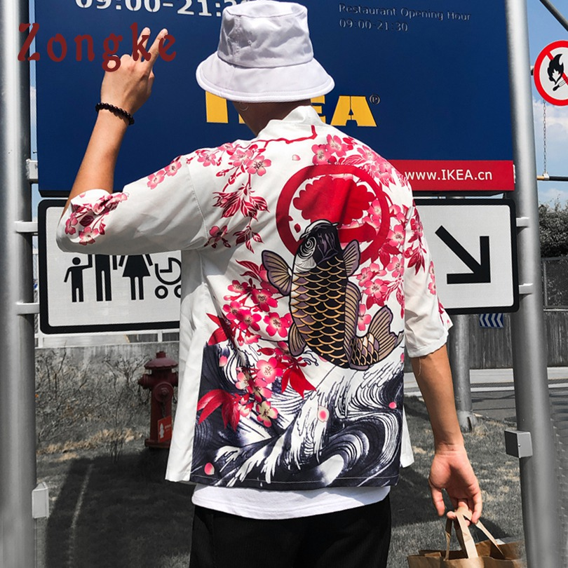 Zongke japonés Kimono Rebeca larga carpa impresión Floral Kimono Cardigan hombres verano blanco Japón Kimono hombres chaqueta 2018