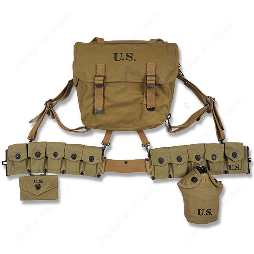 WW2 US ARMY EQUIPMENT M36 BAG BELT FIRST AID KIT AND 0.8L KETTLE X TYPE STRAPS TEN CELL POUCH