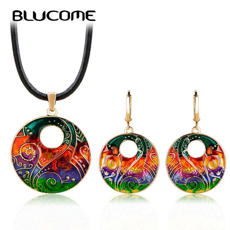 Blucome Colorful Big Round Necklace Earrings Set Rope Chain Choker Pendant Long Drop Pendientes Women Girls Enamel Jewelry Sets long chain enamel bird shape drop earrings