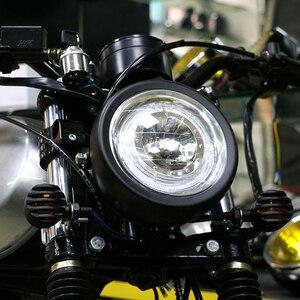 Image 4 - Светодиодный налобный фонарь для мотоцикла, универсальное освесветильник для мотоцикла 7 дюймов, 12 В постоянного тока, модный головной фонарь для скутера с мотором в стиле ретро, черный, круглый светодиод