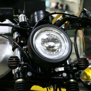 Image 4 - LED Motorcycle Headlamp Universal 7 Inch Motorbike Refit Headlight DC 12V Scooter Fashion Head Light Motor Retro Black Round led