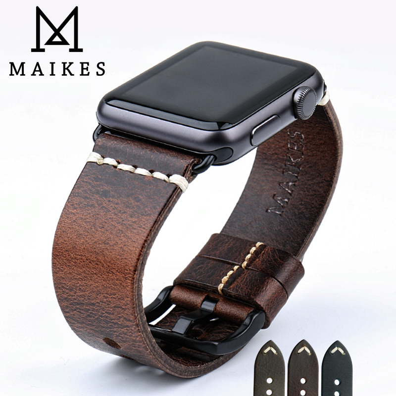 MAIKES Bracelet En Cuir Remplacement Pour Apple Montre Bande 44mm 40mm 42mm 38mm Série 4 3 2 iWatch Vintage Huile Cire En Cuir Bracelet