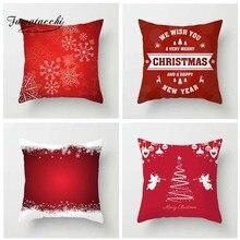 Fuwatacchi Christmas Happy New Year Printed Cushion Cover Snow Santa Pillow Deer Tree Decorative Pillowcase for Home Sofa