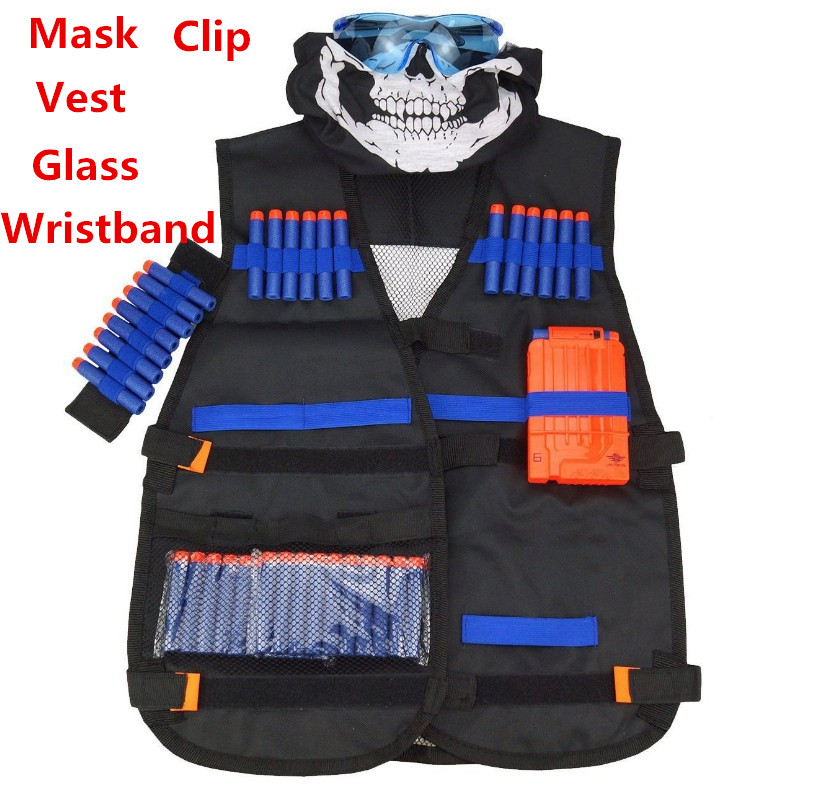 54x47cm Children Kids Black Tactical Vest Jacket Waistcoat Ammo Holder N-Strike Elite Pistol Bullets Toy Clip Darts For Nerf