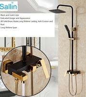 Luxury Bathroom Extensible Bathtub Shower Rail Mixer Faucet Set European Vintage Gold Black Sliding Bar Shower Faucet Mixer Set
