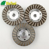 DIATOOL 3pcs Diameter 4 inch 5/8 11 Thread Aluminum Based Diamond Grinding Cup Wheel Fine Grinding With Great Finishing