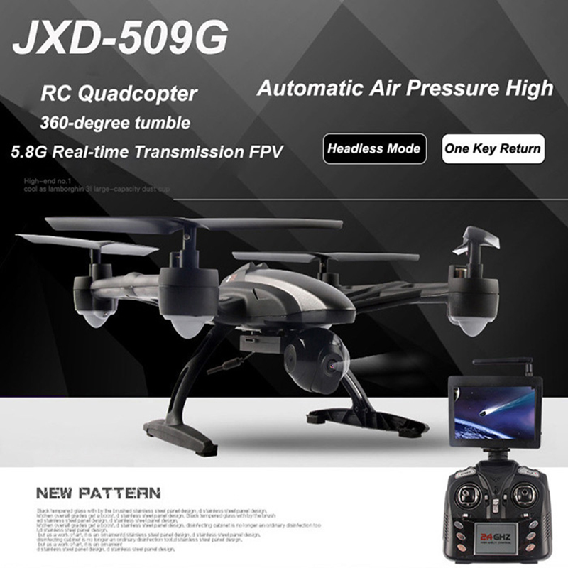 JXD 509G RC Drone With FPV Wifi Camera & 5.8G Display Screen 2.4G 4CH Quadcopter Helicopter selfie drone jxd 523w jxd 523 tracker foldable mini rc drone with wifi fpv camera altitude hold headless mode rc helicopter