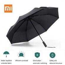 Xiaomi Mijia Şemsiye Otomatik Güneşli Yağmurlu Katlanmış Bumbershoot Alüminyum Rüzgar Geçirmez Su Geçirmez Şemsiye Adam Kadın Yaz Güneşlik