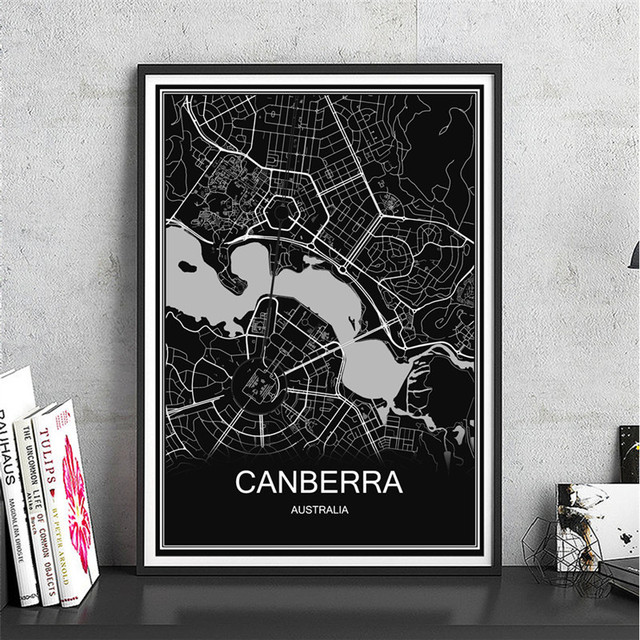 Australia CANBERRA City poster World map oil painting Abstract ...