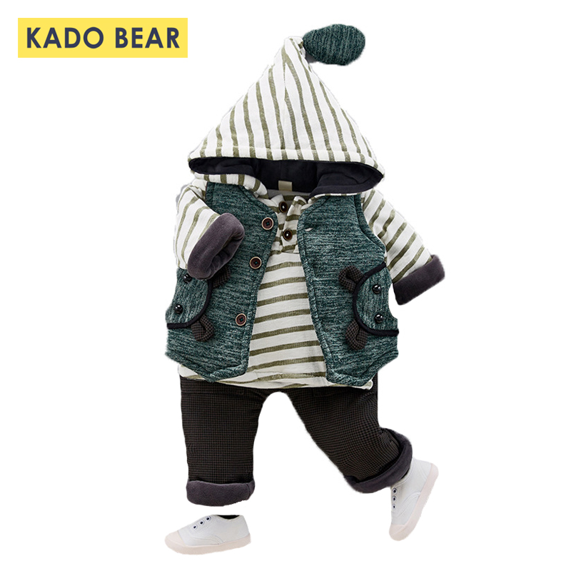 Newborn Boy Warm Winter Clothes Baby Suit Clothing Set Kids Hooded Coats Outerwear Striped Cute Jackets Autumn Girl Outfit 3 Pcs baby boy s fashion hooded coats 2017 winter cartoons little monster cute long sleeve jackets children s clothing warm outerwear
